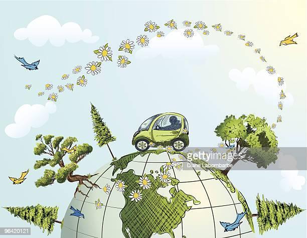 Carros de condução através de globo com árvores, flores e pássaros