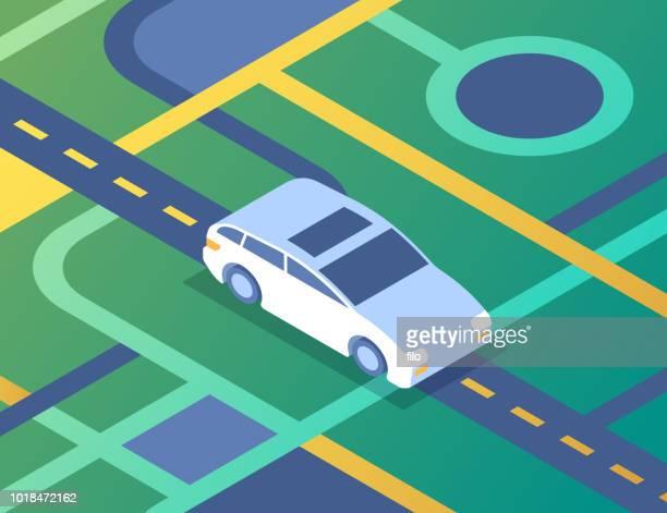 car driving street navigation - runaway vehicle stock illustrations, clip art, cartoons, & icons