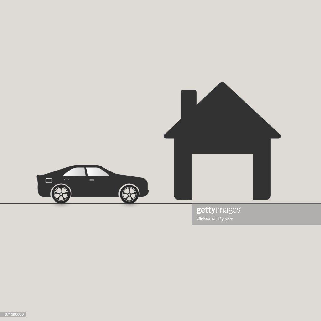 Car driving to garage