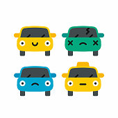Car emoji, car face character smiles colors icons set