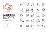Car Engine and Dashboard Lights