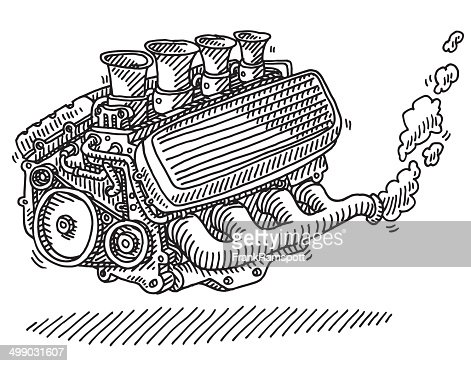 car engine drawing vector art