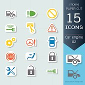 Car engine icons set, Vector Illustrations stickers and paper cut style, Easy to editable and change, Separate background, Expand to any size, Change to any colour.