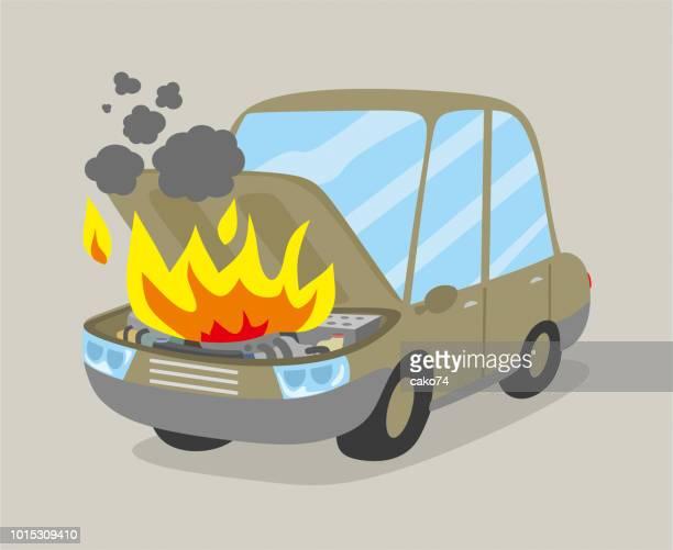 ilustraciones, imágenes clip art, dibujos animados e iconos de stock de motor del coche se quema - car crash