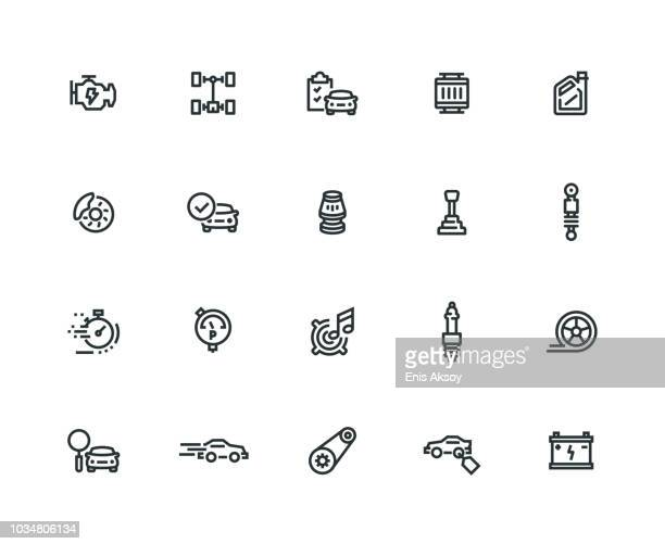 Car Features Icon Set - Thick Line Series