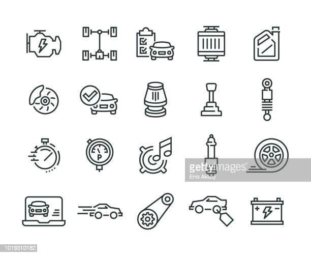car features icon set - wheel stock illustrations, clip art, cartoons, & icons