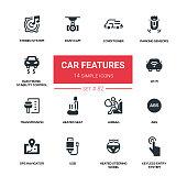 Car features - line design silhouette icons set