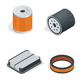 Car filters isometric set