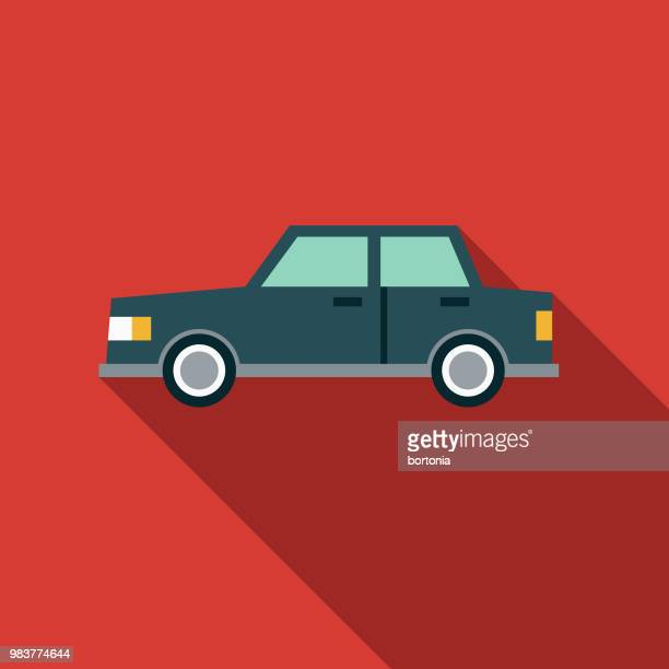 car flat design transportation icon - sedan stock illustrations, clip art, cartoons, & icons