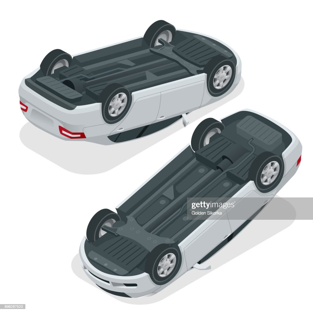 Car flipped. Car turned over after accident. Vehicle flipped onto roof. Vector isometric illustration.