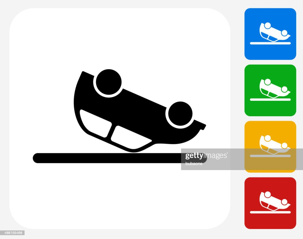 Car Flipped Upside Down Icon Flat Graphic Design