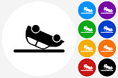 Car Flipped Upside Down Icon on Flat Color Circle Buttons