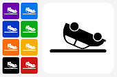 Car Flipped Upside Down Icon Square Button Set