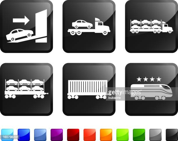 car freight shipping royalty free vector icon set stickers - rail freight stock illustrations, clip art, cartoons, & icons