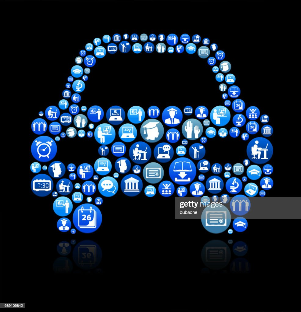 Car Front E-learning and College Education Blue Button Pattern : Stock Illustration