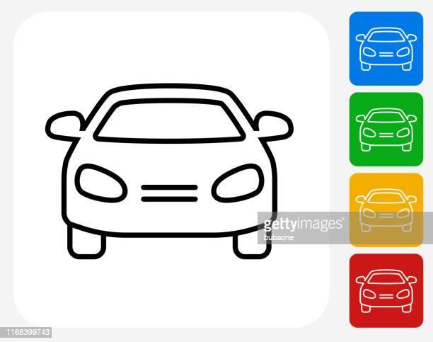ilustrações, clipart, desenhos animados e ícones de ícone da opinião dianteira do carro - vista frontal