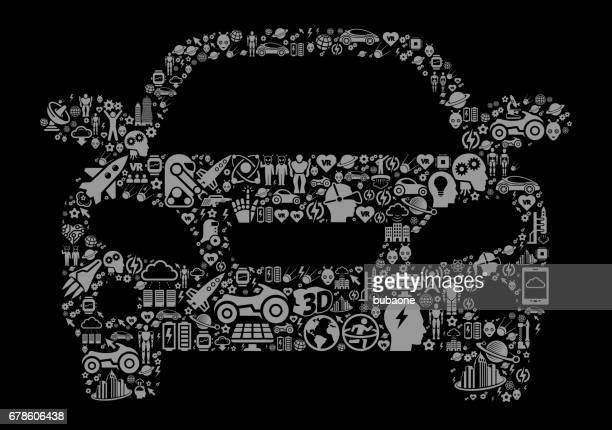 Car  Future and Futuristic Technology Black Icon Background