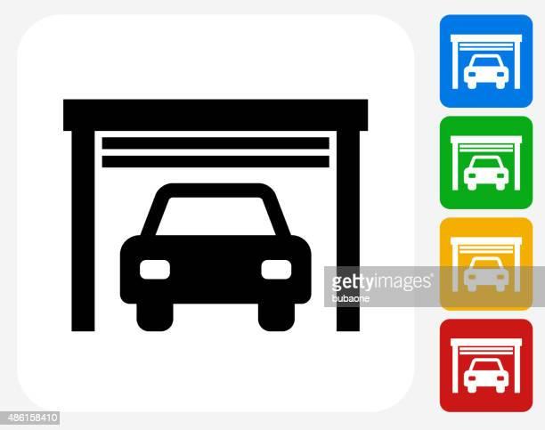 Car Garage Icon Flat Graphic Design