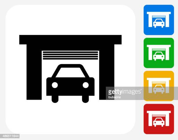 Car Garage Icon Flat Graphic Design