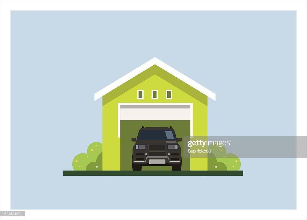 car garage simple flat illustration