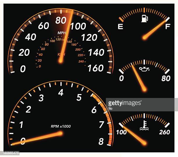 car gauges - speedometer stock illustrations