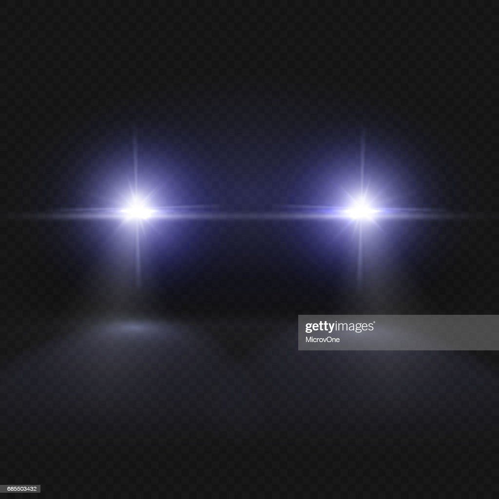 Car headlights. Headlamp glowing vector effect isolated on transpatent plaid background