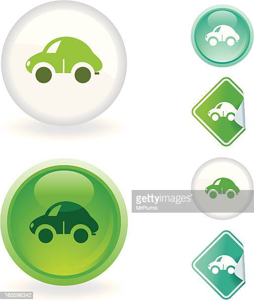car  icon | ecological series - compact car stock illustrations, clip art, cartoons, & icons
