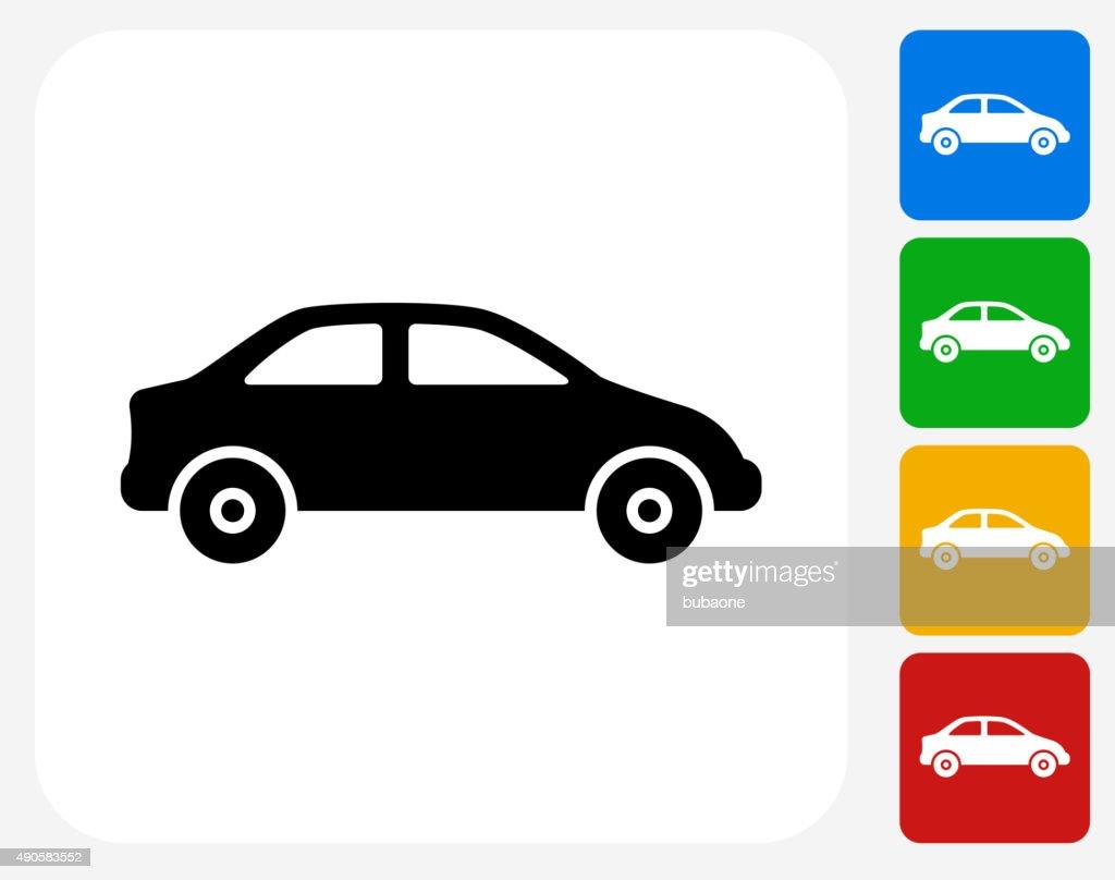 Car Icon Flat Graphic Design