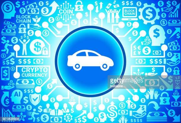 Auto-Symbol an Geld- und Kryptowährung Hintergrund
