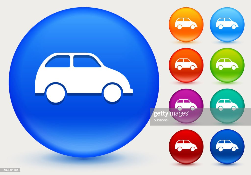 Car Icon on Shiny Color Circle Buttons : Vector Art