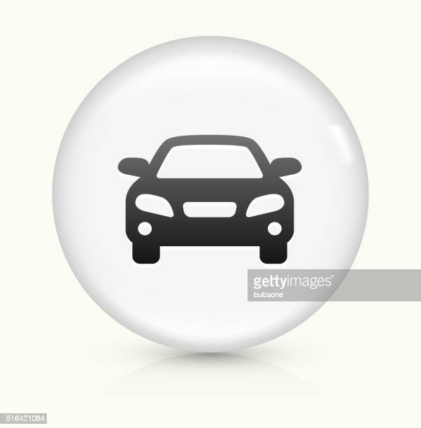 car icon on white round vector button - hybrid car stock illustrations, clip art, cartoons, & icons