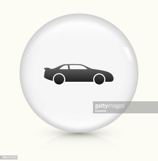 car icon on white round vector button - domestic car stock illustrations, clip art, cartoons, & icons