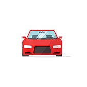Car icon red color vector, auto isolated, automobile front view