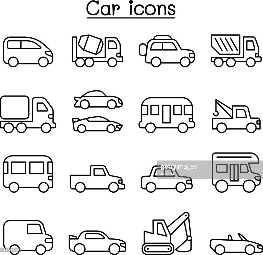 Car icon set in thin line style