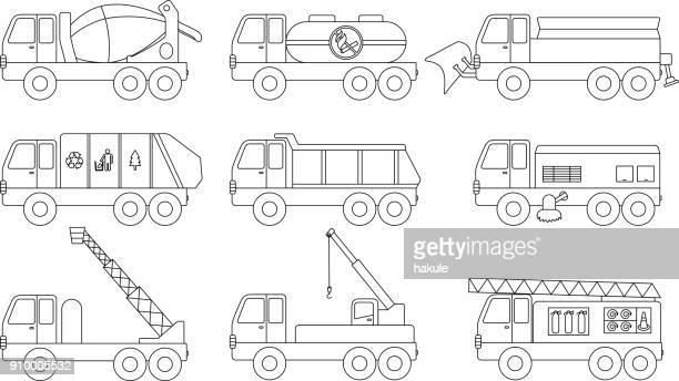 ilustrações de stock, clip art, desenhos animados e ícones de car icon set, outline vector illustration - carro de bombeiro