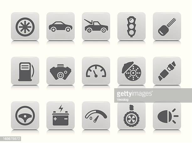 car icon set - car battery stock illustrations, clip art, cartoons, & icons