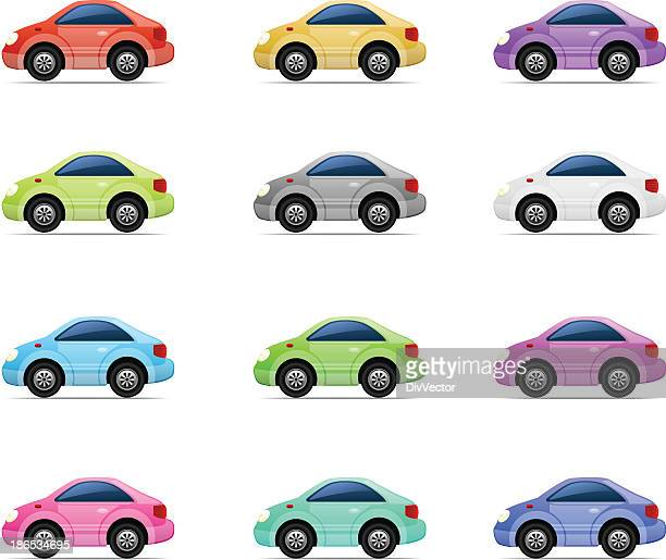 car icon set - compact car stock illustrations, clip art, cartoons, & icons