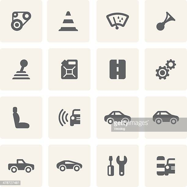 car icon set (saro series) - gearshift stock illustrations, clip art, cartoons, & icons