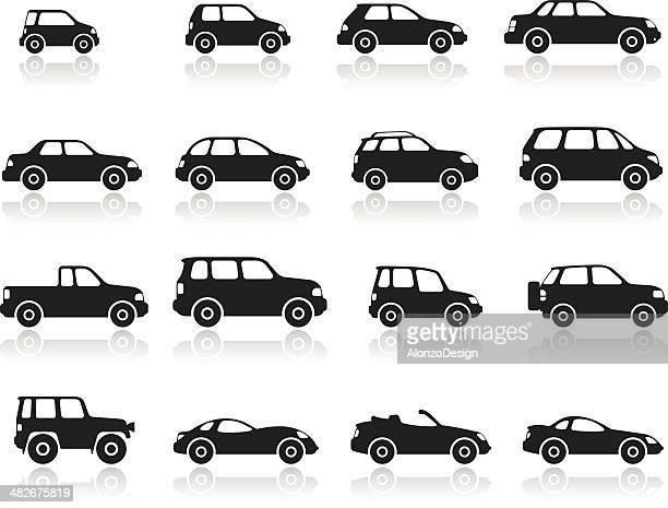 car icon set - hatchback stock illustrations, clip art, cartoons, & icons