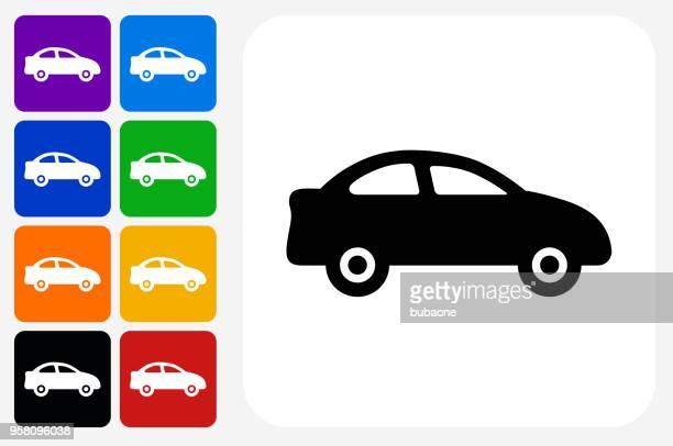 car icon square button set - car stock illustrations, clip art, cartoons, & icons