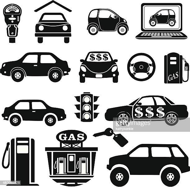 car icons and design elements - parking meter stock illustrations