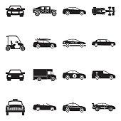 Car Icons. Black Flat Design. Vector Illustration.