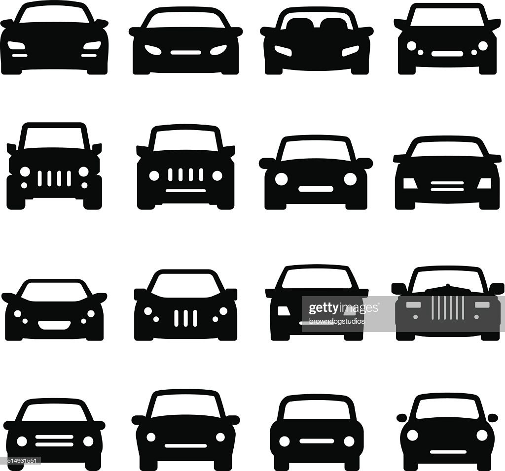 Car Icons - Front Views - Black Series