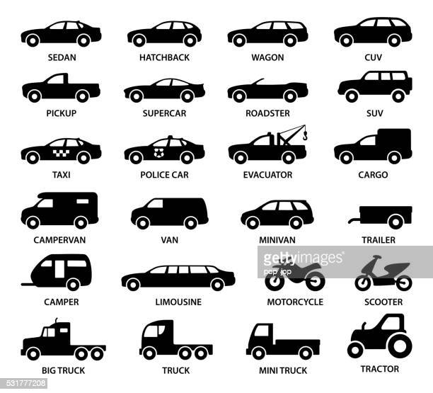 car icons - illustration - land vehicle stock illustrations