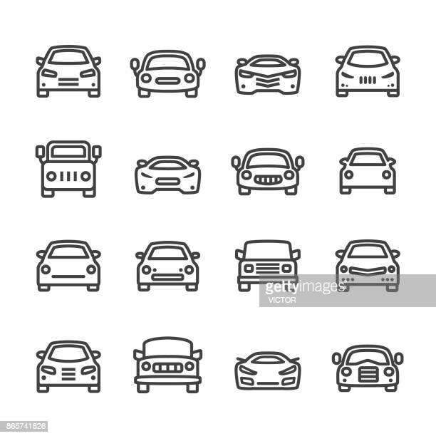 car icons - line series - car stock illustrations, clip art, cartoons, & icons