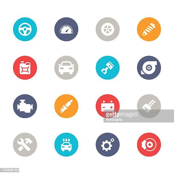 Car Icons   Multicolor Circle Series