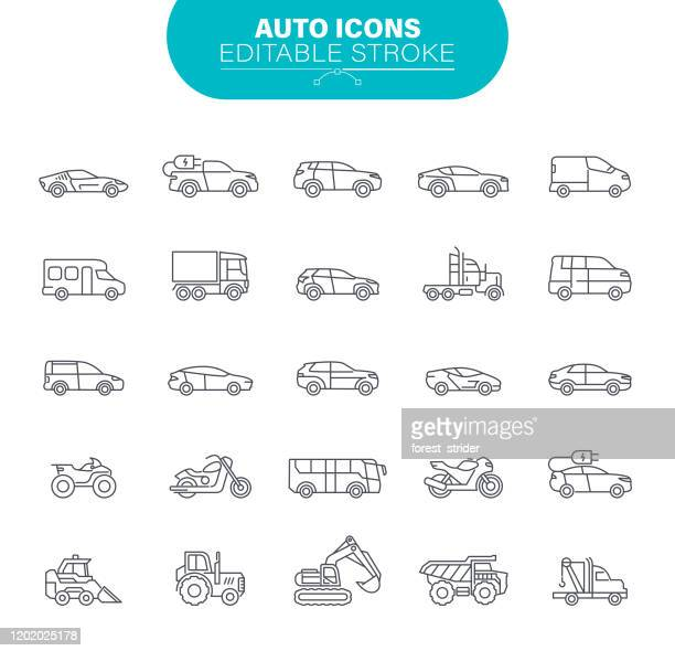car icons. sedans and suv vehicles, road transport editable icon set - truck stock illustrations