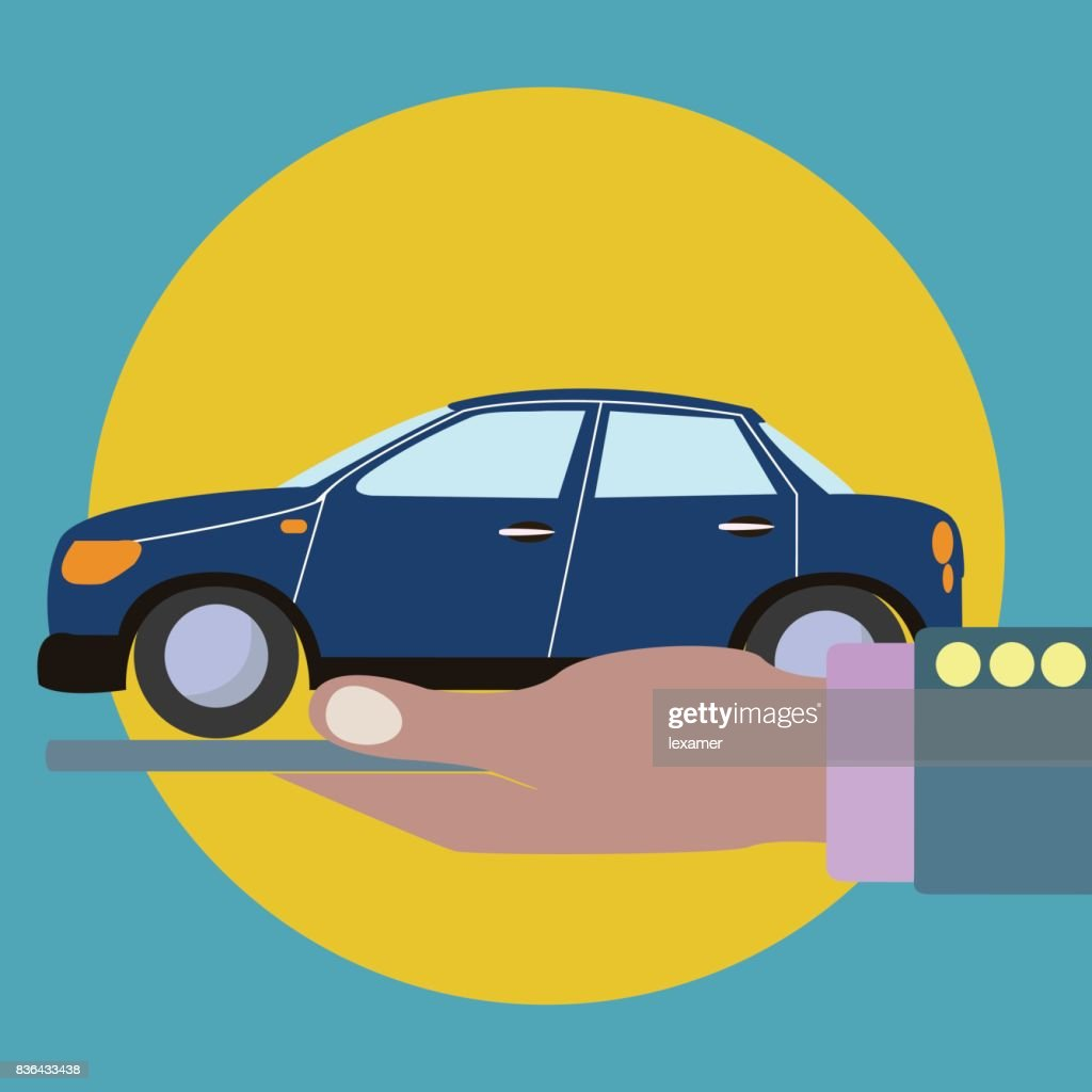 Car in a palm of a hand, property, insurance vector concept