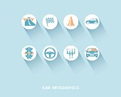 Car infographic with flat icons set