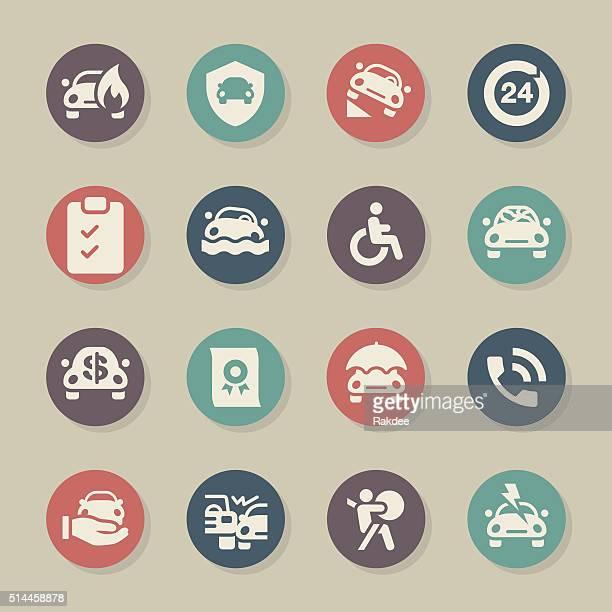 ilustraciones, imágenes clip art, dibujos animados e iconos de stock de seguro de coche icono de círculo de color serie - car crash